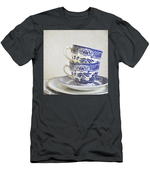Blue And White Stacked China. Men's T-Shirt (Athletic Fit)