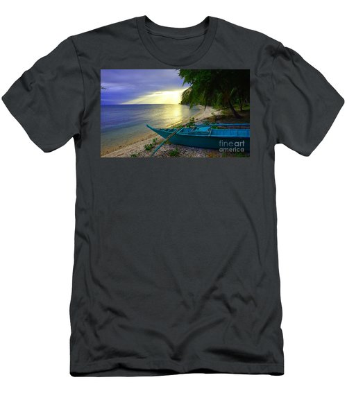 Blue Boat And Sunset On Beach Men's T-Shirt (Athletic Fit)