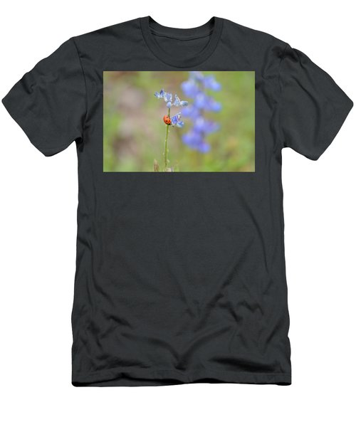 Blue Bonnets And A Lady Bug Men's T-Shirt (Athletic Fit)