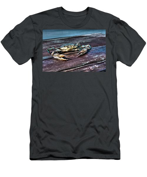 Men's T-Shirt (Athletic Fit) featuring the photograph Blue Crab - Above View by Tommy Patterson