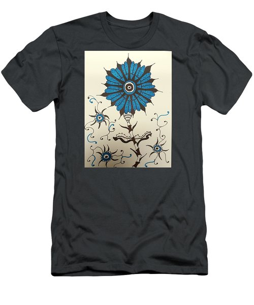 Blue Flower 1 Men's T-Shirt (Athletic Fit)