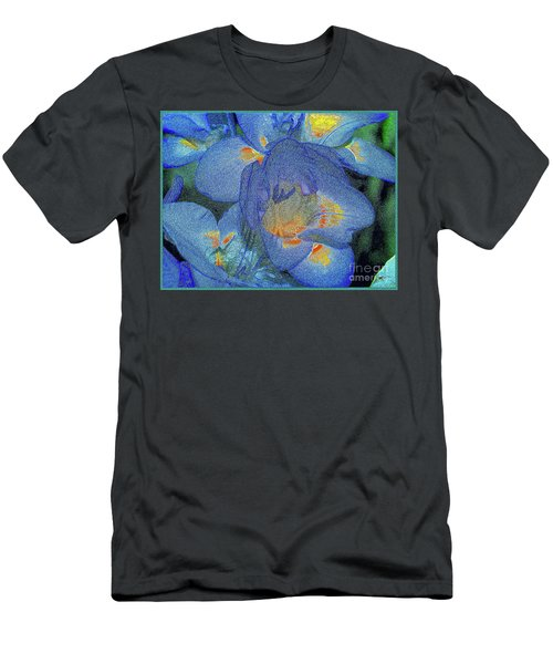 Men's T-Shirt (Athletic Fit) featuring the photograph Blue Freesia's by Lance Sheridan-Peel