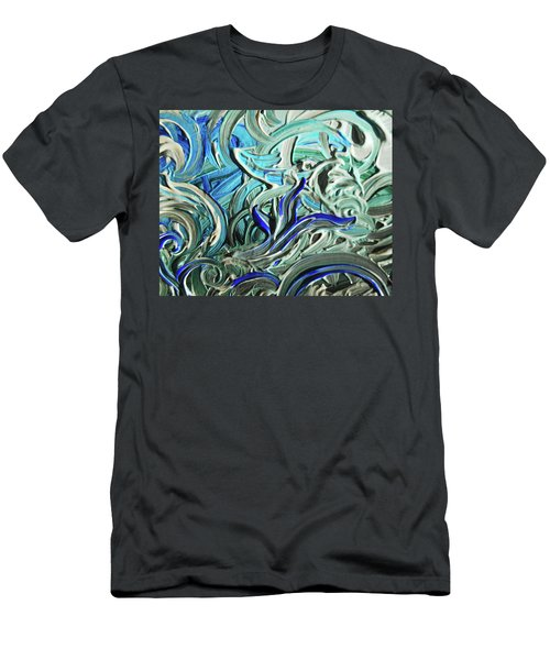 Blue Gray Acrylic Brush Strokes Abstract For Interior Decor I  Men's T-Shirt (Athletic Fit)