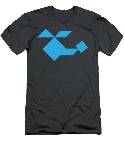 Blue Helicopter Tangram Men's T-Shirt (Athletic Fit)