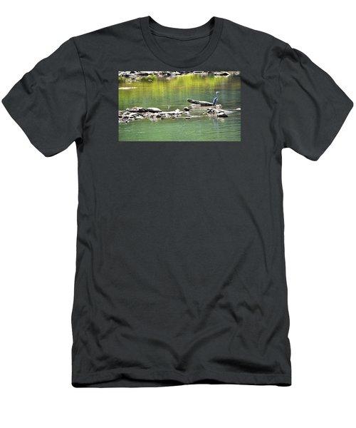 Blue Heron On The Chattahoochie Men's T-Shirt (Slim Fit) by James Potts