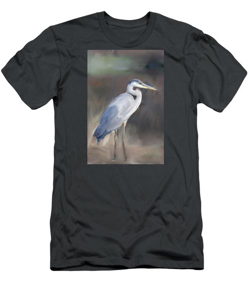 Blue Heron Painting  Men's T-Shirt (Slim Fit) by Don  Wright