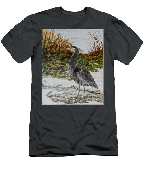 Men's T-Shirt (Slim Fit) featuring the painting Blue Heron by Sher Nasser