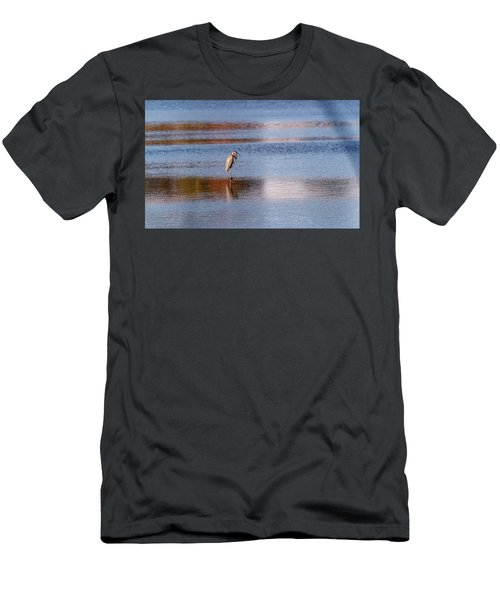 Blue Heron Standing In A Pond At Sunset Men's T-Shirt (Athletic Fit)