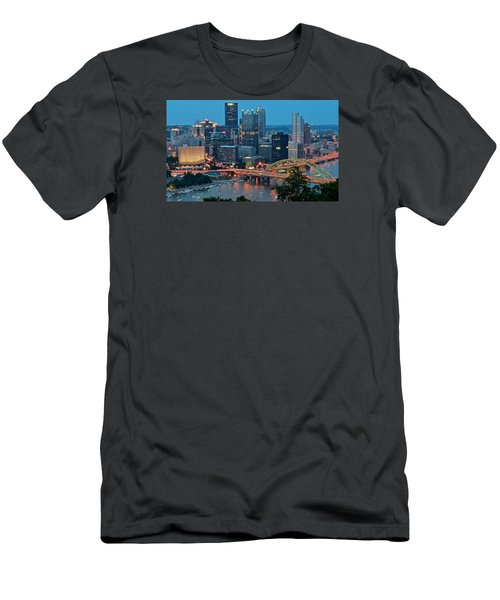 Blue Hour In Pittsburgh Men's T-Shirt (Slim Fit) by Frozen in Time Fine Art Photography