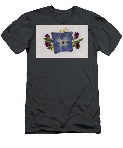 Blue Hydrangea Pressed Floral Design Men's T-Shirt (Athletic Fit)
