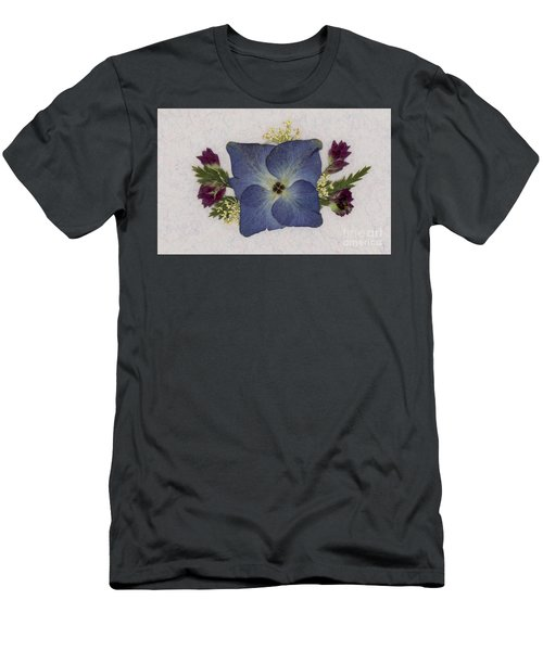 Blue Hydrangea Pressed Floral Design Men's T-Shirt (Athletic Fit)