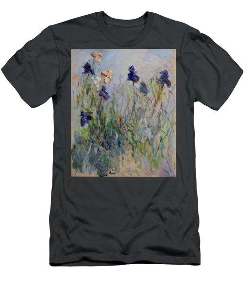 Blue Irises In The Field, Painted In The Open Air  Men's T-Shirt (Slim Fit) by Pierre Van Dijk