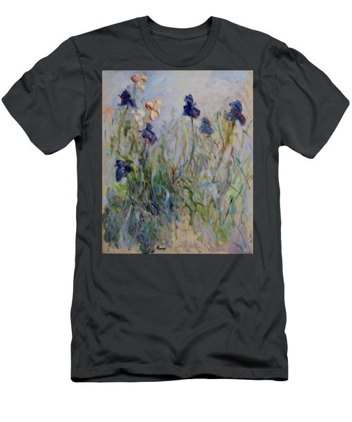 Blue Irises In The Field, Painted In The Open Air  Men's T-Shirt (Athletic Fit)