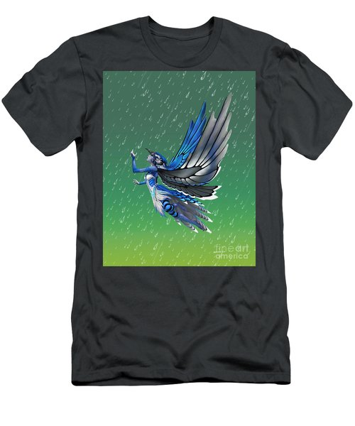 Men's T-Shirt (Slim Fit) featuring the digital art Blue Jay Fairy by Stanley Morrison