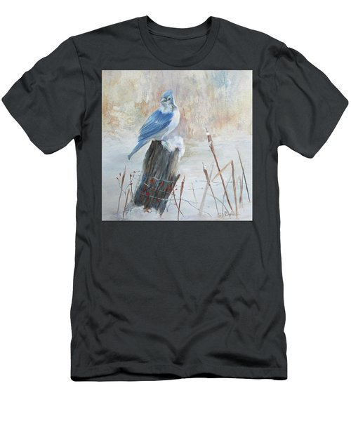 Men's T-Shirt (Slim Fit) featuring the painting Blue Jay In Winter by Roseann Gilmore