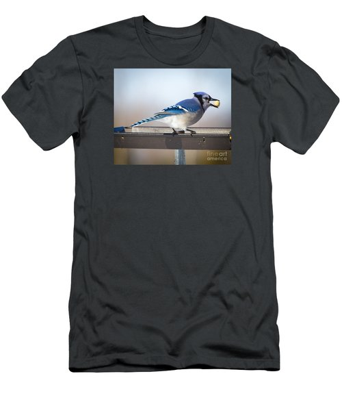 Blue Jay With A Mouth Full Men's T-Shirt (Slim Fit) by Ricky L Jones