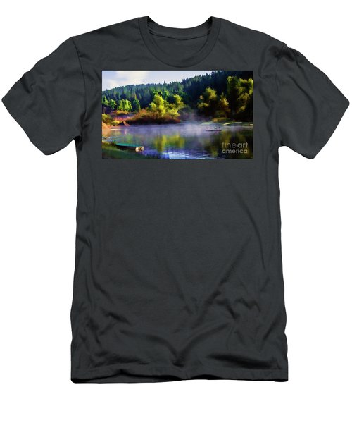 Blue Lake Spring Misty Geese  Men's T-Shirt (Athletic Fit)