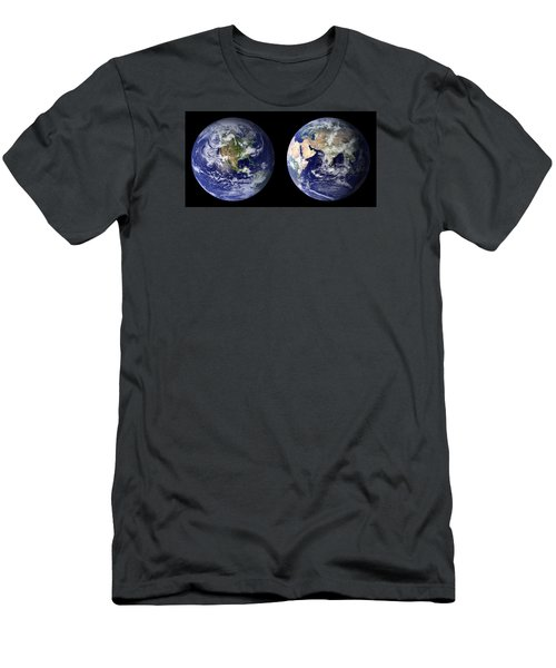 Men's T-Shirt (Athletic Fit) featuring the pyrography Blue Marble by Artistic Panda