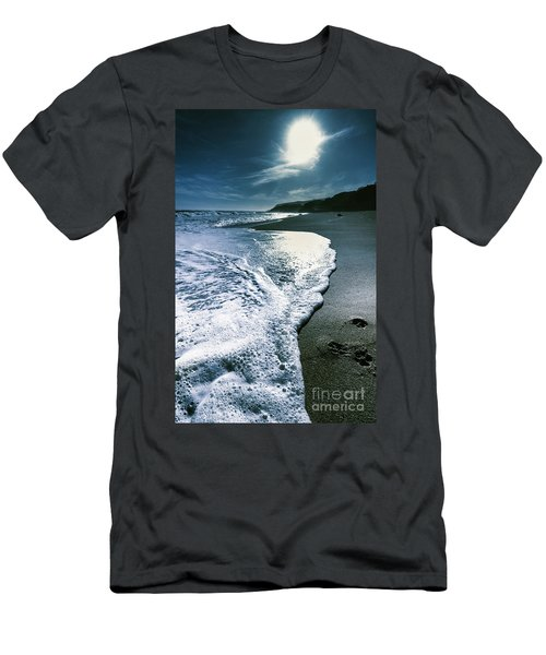 Men's T-Shirt (Athletic Fit) featuring the photograph Blue Moonlight Beach Landscape by Jorgo Photography - Wall Art Gallery