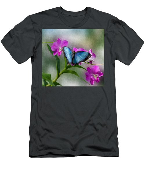 Blue Morpho With Orchids Men's T-Shirt (Athletic Fit)