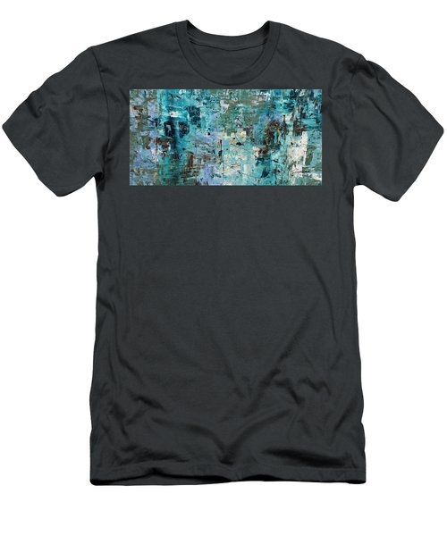 Men's T-Shirt (Slim Fit) featuring the painting Blue Ocean - Abstract Art by Carmen Guedez