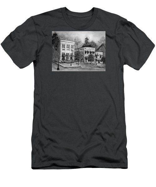 Men's T-Shirt (Slim Fit) featuring the painting Blue Ridge Town In Bw by Gretchen Allen