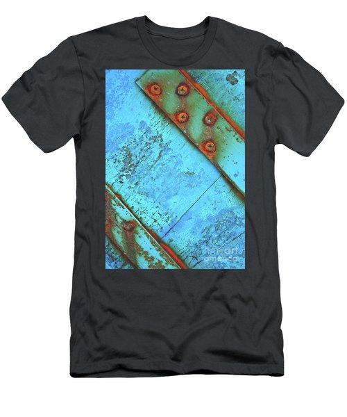 Blue Rusty Boat Detail Men's T-Shirt (Slim Fit) by Lyn Randle