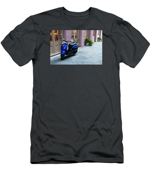 Men's T-Shirt (Slim Fit) featuring the photograph Blue Scooter by Monte Stevens