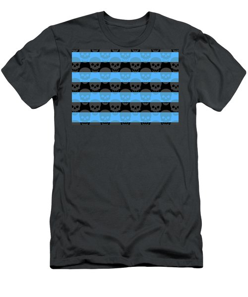 Blue Skull Stripes Men's T-Shirt (Athletic Fit)