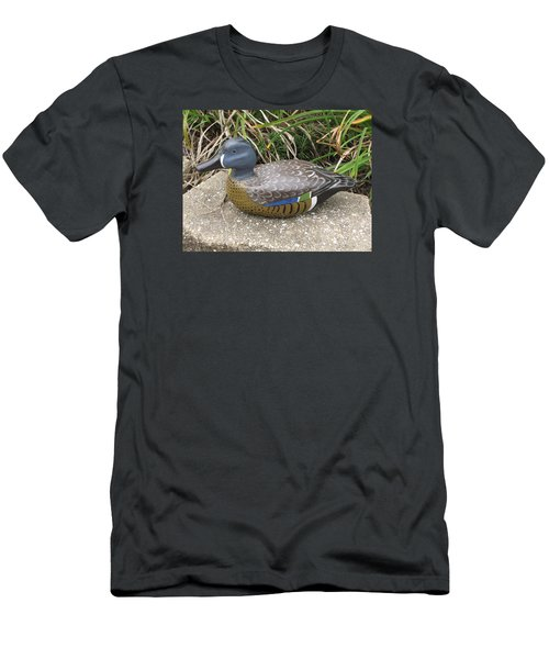 Men's T-Shirt (Slim Fit) featuring the sculpture Blue-winged Duck by Kevin F Heuman