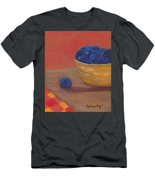 Blueberries Yellow Bowl Men's T-Shirt (Slim Fit) by Patricia Cleasby