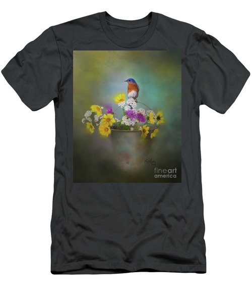 Bluebird With Bucket Of Flowers Men's T-Shirt (Athletic Fit)