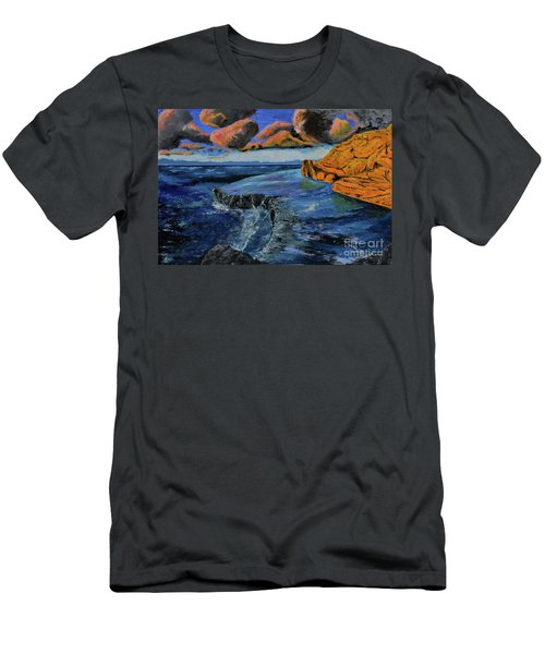 Blue,blue Ocean With Clouds Men's T-Shirt (Athletic Fit)