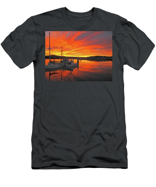 Men's T-Shirt (Slim Fit) featuring the photograph Boardwalk Brilliance With Fish Ring by Suzy Piatt