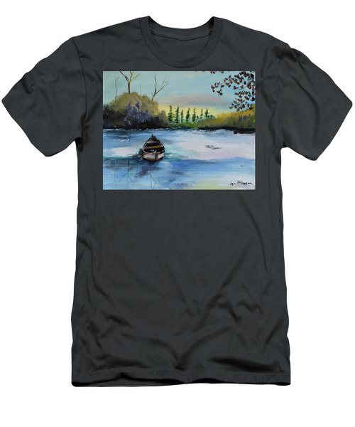 Men's T-Shirt (Athletic Fit) featuring the painting Boat Abandoned On The Lake by Jan Dappen