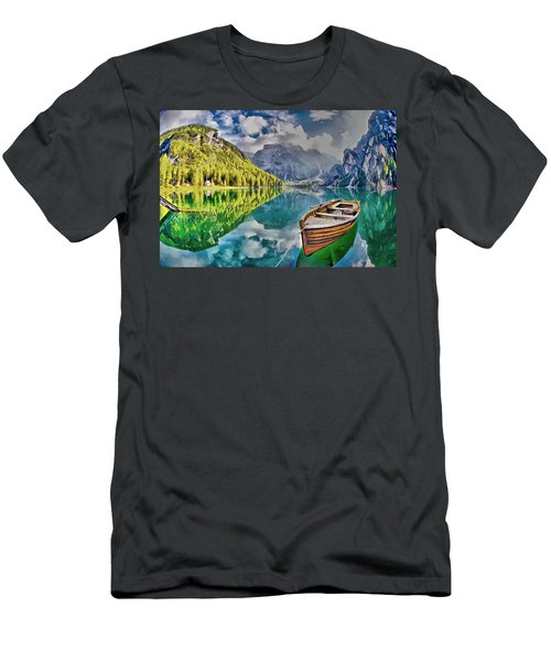 Boat On The Lake Men's T-Shirt (Slim Fit) by Maciek Froncisz