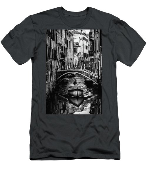 Boat On The River-bw Men's T-Shirt (Athletic Fit)