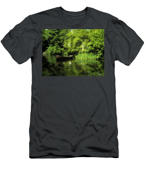 Boat Reflected On Water County Clare Ireland Painting Men's T-Shirt (Athletic Fit)
