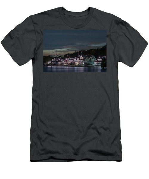 Boathouse Row Philly Pa Night Men's T-Shirt (Slim Fit) by Terry DeLuco