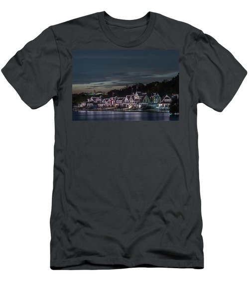 Boathouse Row Philly Pa Night Men's T-Shirt (Athletic Fit)
