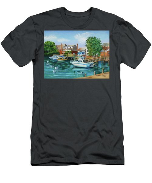 Boats Behind Cross Bay Blvd. Men's T-Shirt (Slim Fit)