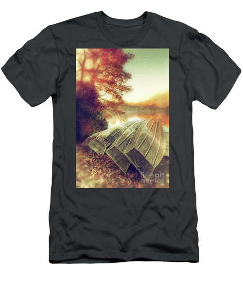Men's T-Shirt (Slim Fit) featuring the painting Boats On Price Lake During Autumn Sunrise Ap by Dan Carmichael