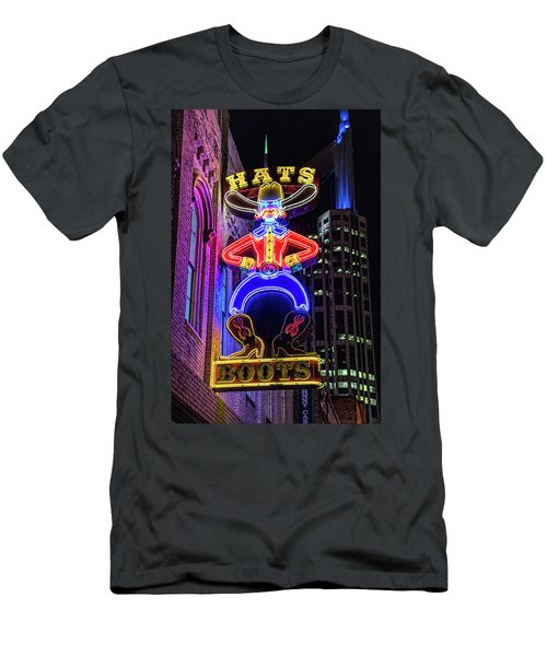 Boots And Hat Neon Sign Men's T-Shirt (Athletic Fit)