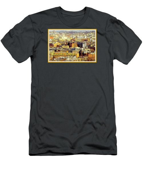 Men's T-Shirt (Slim Fit) featuring the digital art Boston Beantown Rooftops Digital Art by A Gurmankin