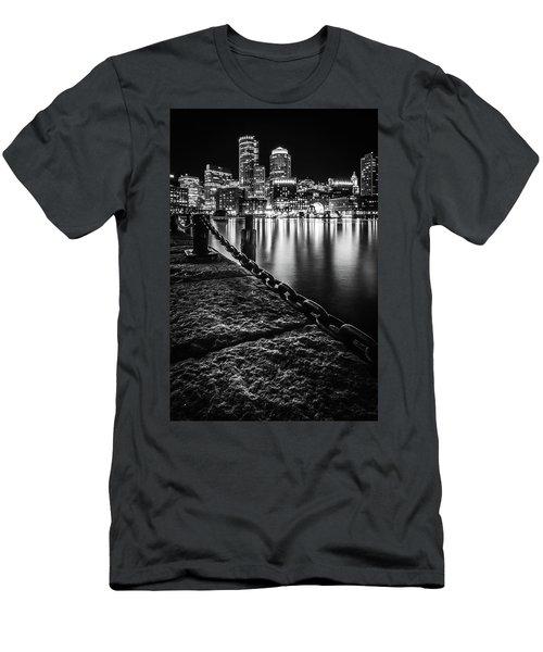 Boston Harbor At Night Men's T-Shirt (Athletic Fit)