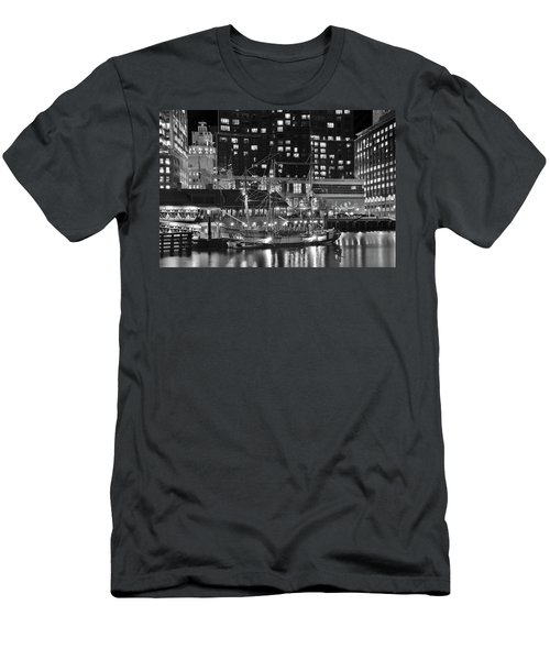 Men's T-Shirt (Slim Fit) featuring the photograph Bostonian Black And White by Frozen in Time Fine Art Photography