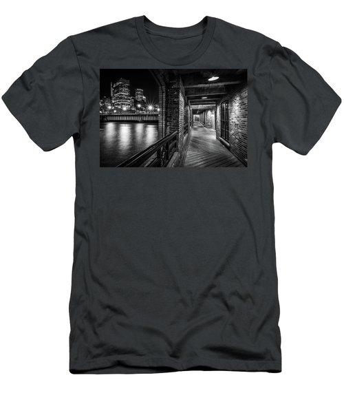 Boston's Skyline From The Fort Point Channel Harborwalk Men's T-Shirt (Athletic Fit)