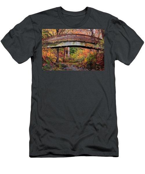 Botanical Gardens Arched Bridge Asheville During Fall Men's T-Shirt (Athletic Fit)