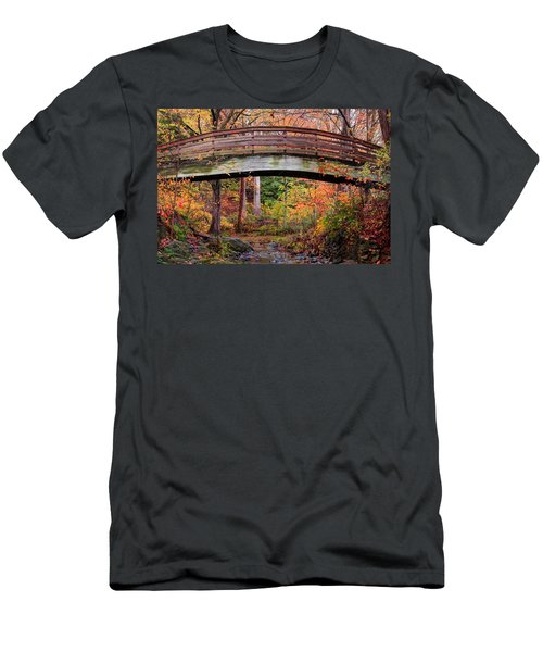 Botanical Gardens Arched Bridge Asheville During Fall Men's T-Shirt (Athletic Fit)
