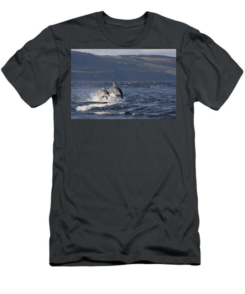 Bottlenose Dolphins Leaping - Scotland  #37 Men's T-Shirt (Athletic Fit)